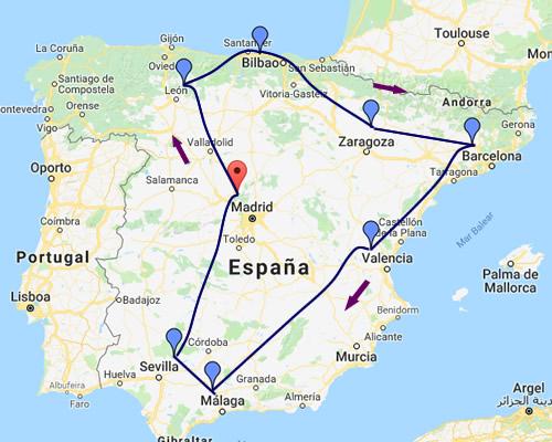 ESPAÑA EN AUTO MAPA