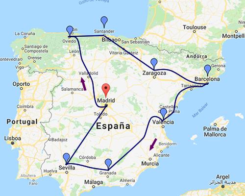 España de Norte a Sur MAPA