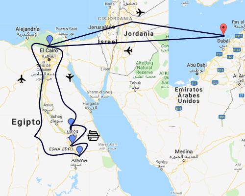 ACOMPAÑADA DUBAI EGIPTO + NILO MAPA