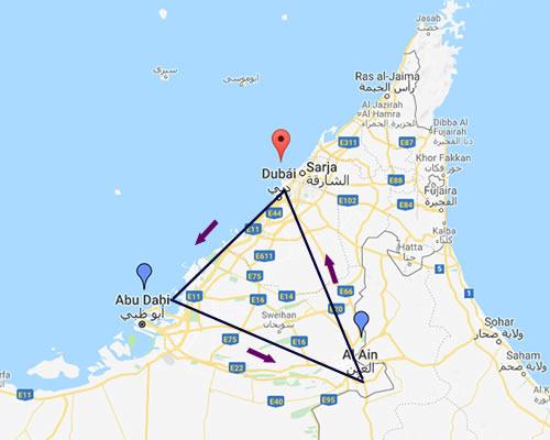 DUBAI + ABU DHABI MAPA
